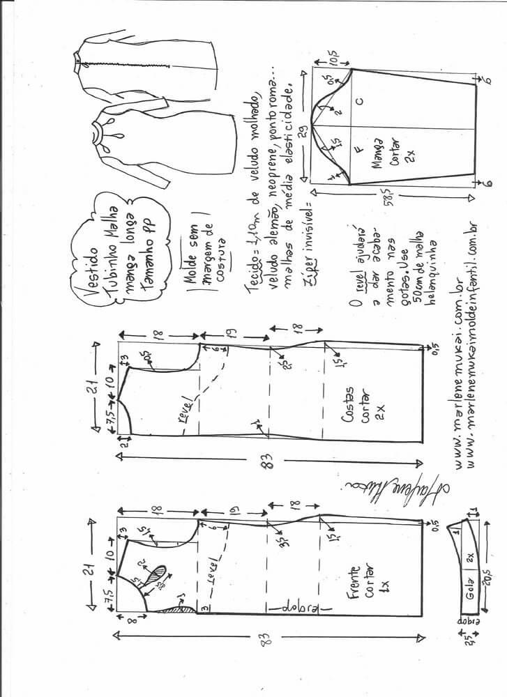 Patrón vestido tubo manga larga - Patrones gratis