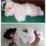 Muñeca de tela durmiendo, con patrones