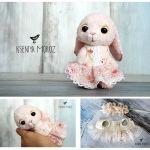 Muñeca de tela dulce conejita con vestido