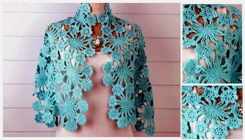 Chal crochet azul cielo Gráficos - Patrones gratis