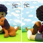 Molde de niño con mascota en fieltro