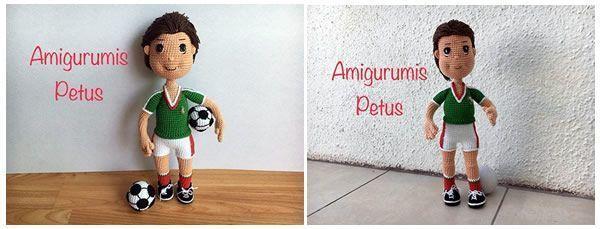 Muñeco futbolista en amigurumi
