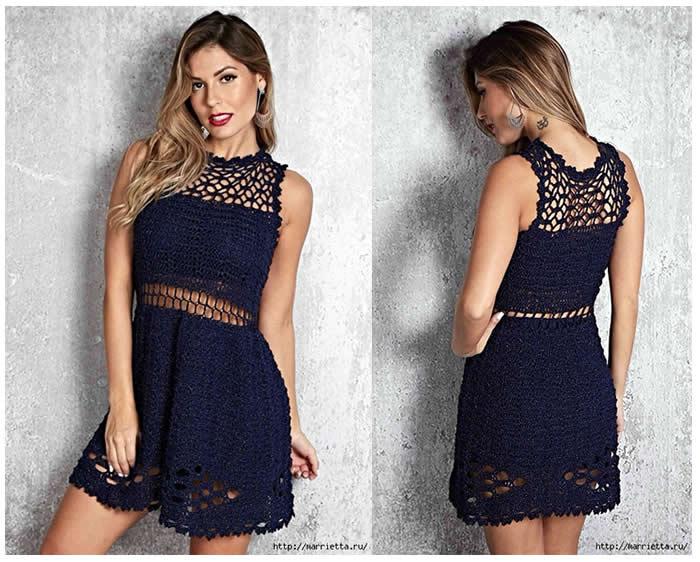 Vestido elegante a crochet - Patrones gratis 0185e3c45ee