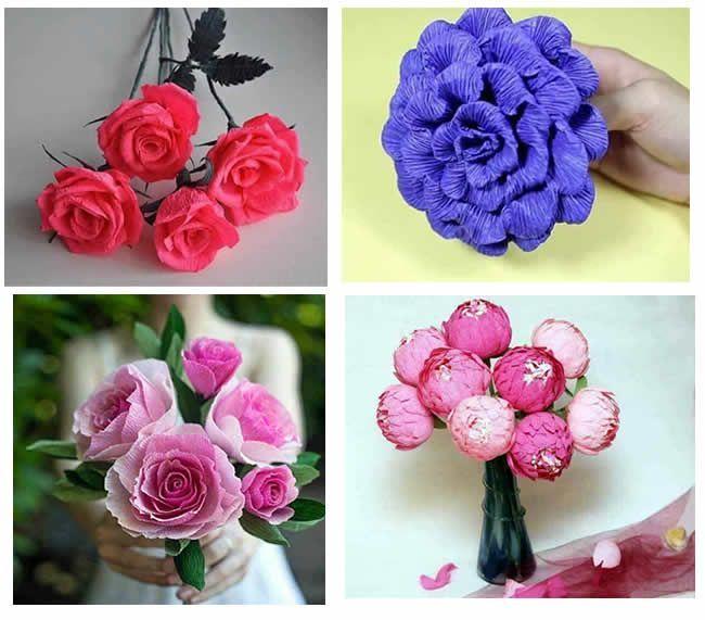 Diy Flores Con Papel Crepe Patrones Gratis
