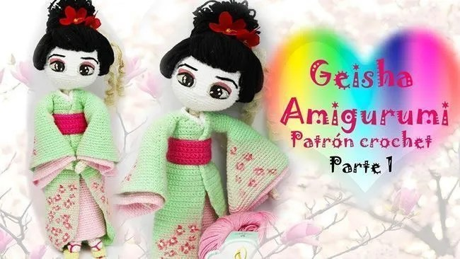 Muñeca a crochet o amigurumi Geisha