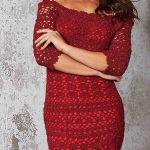 Vestido rojo de noche tejido a crochet