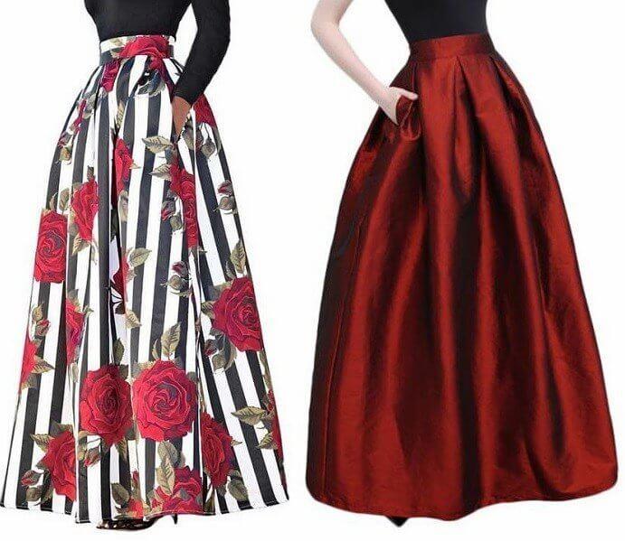 44eb625c3 Falda larga con pliegues - Patrones gratis