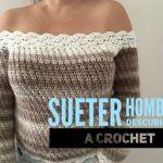 Suéter a crochet de hombros descubiertos