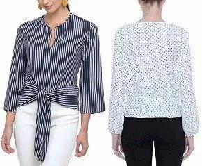Blusa con banda para atar entre cintura y cadera