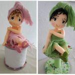 Muñeca porta papel higiénico en porcelana fría