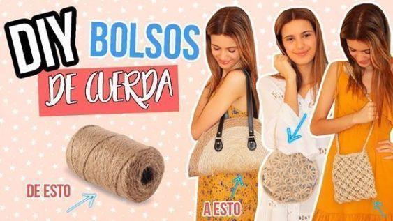DIY Como hacer tres bolsos con cuerda