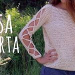 Blusa Fácil Mangas Abiertas tejido a crochet