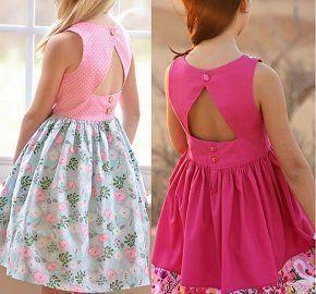 Vestido para niña con escote triangular