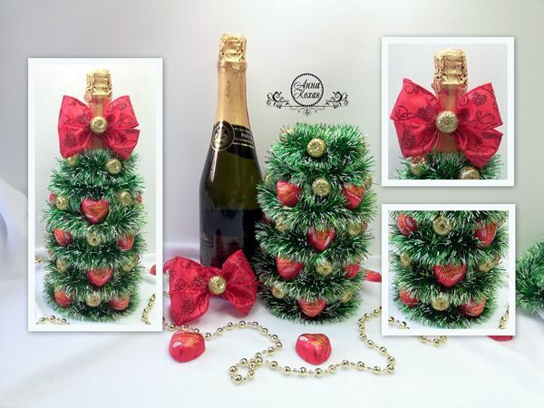 DIY Árbol de Navidad con botella de champán
