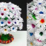 DIY Ramo de flores de papel con botellas de plástico