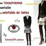 DIY Transformar pantalón en minifalda de tablas