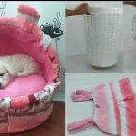 DIY cama para mascota con material reciclado