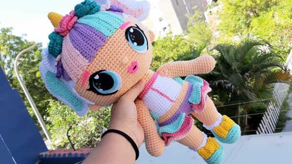 Muñeca unicornio Lol Surprise amigurumi