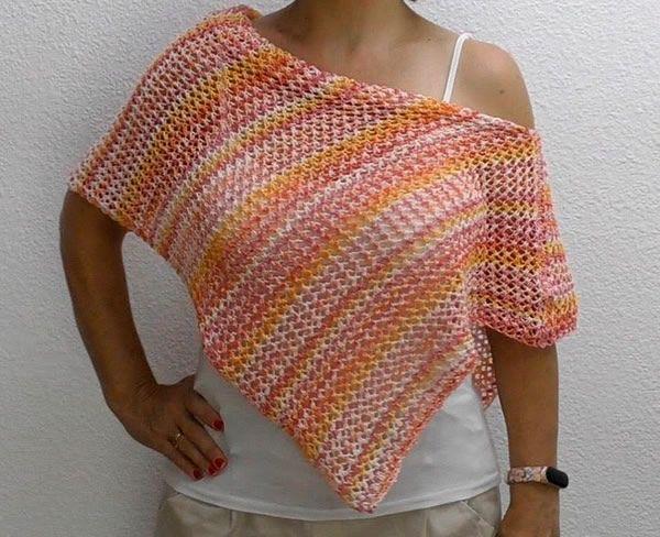 Poncho blusa crochet o dos agujas