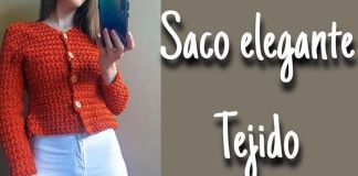 Chaqueta elegante tejida a crochet