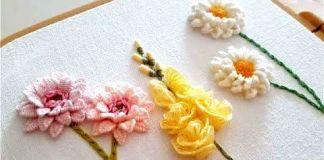 Flores 3D bordadas a mano paso a paso