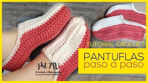 Pantuflas tejidas a crochet muy fácil paso a paso