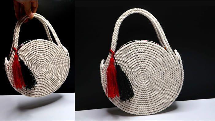 Bolso circular con cuerda fácil paso a paso