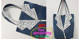 DIY Bolso jeans con cuello de encaje