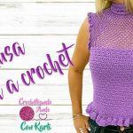 Blusa tejida a crochet modelo Olanes todas las tallas