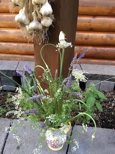 lavender, leeks, clantro, scapes