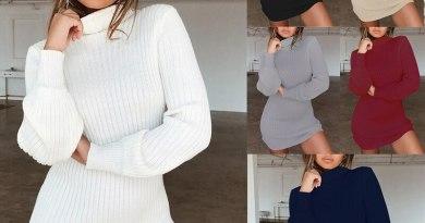 2019 Elegant Midi Knitted Sweater Dress Women Plus Size Autumn Winter Pencil Party Dress Vestidos Black White Bodycon Dresses