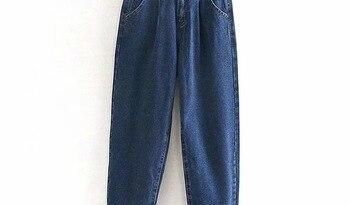 Jeans Woman 2019 Loose Casual Harem Pants boyfriends Mom Jeans Streetwear Denim Pants Women Pleated Pocket Trousers Jean Femme