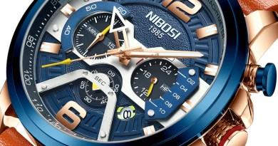 NIBOSI Chronograph Sport Watch Men Blue Top Brand Luxury Military Leather Wrist Watch Man Clock Relogio Masculino Wristwatch