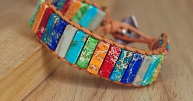 Natural Stone Handmade Multi Color Chakra Bracelet Jewelry Tube Beads Leather Wrap Bracelet Creative Gifts Couples Bracelets