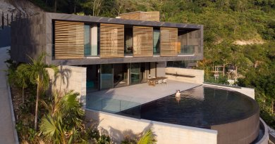 operate qua builds dwelling in kalim shoreline, thailand, with hooked infinity pool + bamboo shows