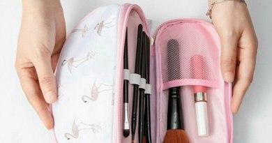 Cosmetic storage bag portable printing large capacity double travel cosmetic bag semi-circular cosmetic washing storage bag