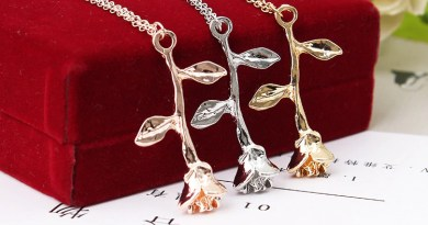 New accessories vintage delicate flower branches rose pendant necklace manufacturers wholesale
