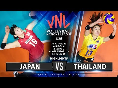 Japan vs Thailand | Highlights | Ladies folk's VNL 2019