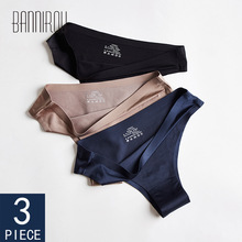 Panties Woman Underwear Sexy Seamless Sports Female T-back Solid Soft G-string Thong For Woman Underwear Ice Silk 3 Pcs BANNIROU