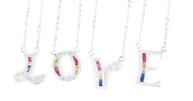 Cheapest Silver Colored Zircon Crystal Diamond 26 Letter Necklace A B C  E F I S T U V W X Y Z Letter Pendant with Link