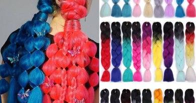 AISI QUEENS Ombre Jumbo Braids Synthetic Braiding Kanikalon Hair for Women Crochet Braid 100g 24inch Hair Extension Pink Blue
