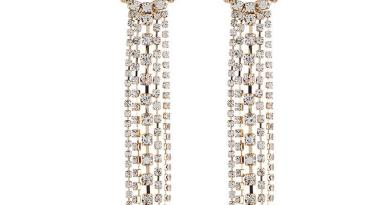 Women Fashion Rhinestone Long Chain Tassel Clip Drop Pair of Earrings Casual 10cm/ 3.9 inch