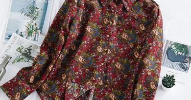 DIMANAF Spring Summer Plus Size Women Blouse Shirt Vinatge Elegant Lady Tops Tunic Casual Loose Print Floral Long Sleeve Clothes