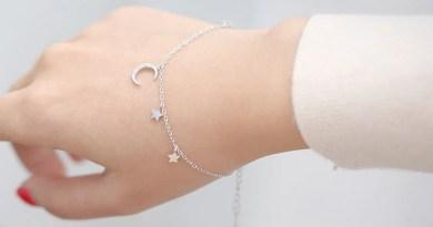 Anenjery Simple Fashion Micro CZ Moon Star Tassel 925 Sterling Silver Bracelet For Women Girl Summer Jewelry Gift S-B169