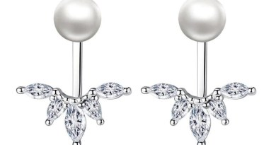 Anenjery New Fashion 925 Sterling Silver Horse Shape Zircon Peacock Tail Pearl Stud Earrings For Women Jewelry S-E263