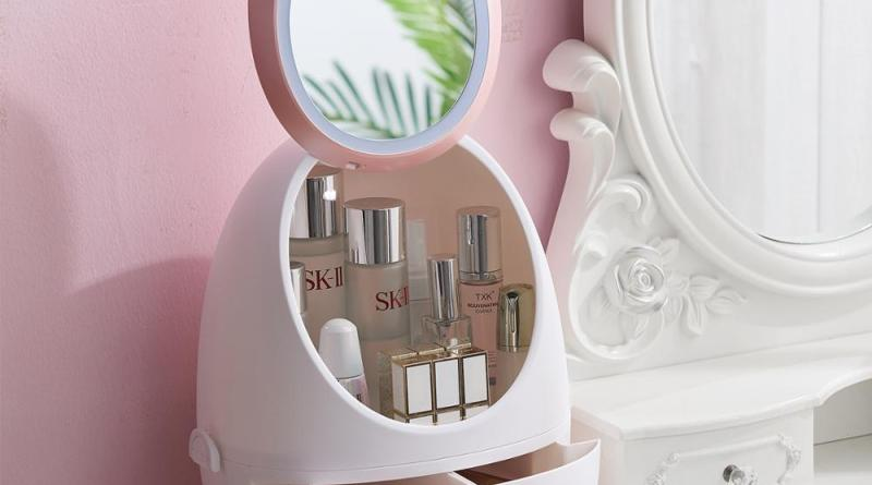 Cosmetic storage box with mirror desktop skin care product shelf dust-proof drawer makeup box Portable transparent cosmetic case