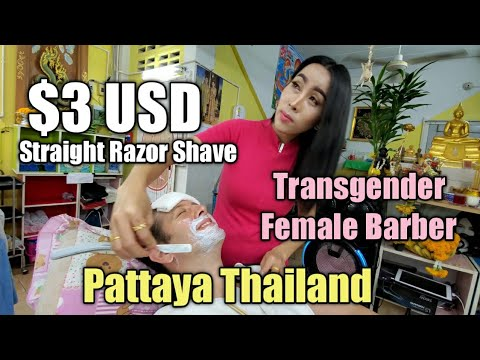 💈STRAIGHT RAZOR SHAVE by Fantastic Transgender FEMALE BARBER 🇹🇭 PATTAYA THAILAND