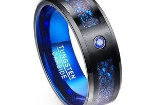 Foreign Trade Carbon Fiber Scrub Blue Zircon Men Rings 100% Tungsten Carbide Anillos para hombres Black Dragon