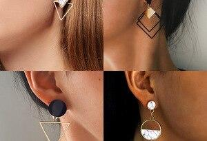 X&P New Fashion Round Dangle Drop Korean Earrings For Women Geometric Round Heart Gold Earring Wedding 2020 kolczyki Jewelry