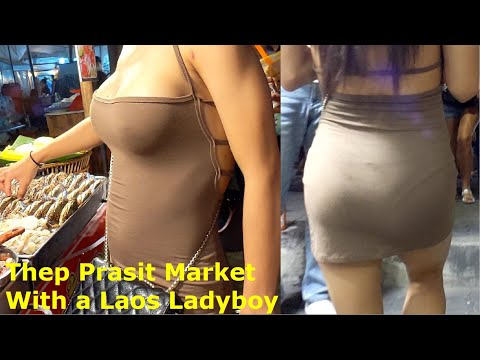 Thep Prasit Market with a Ladyboy from Laos, Jomtien, Pattaya, Thailand. Animals, Meals and more